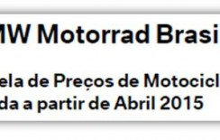 Tabelas de preços – BMW Motorrad – Abril/2015