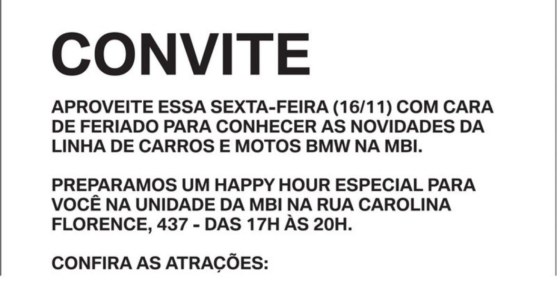 Convite Happy Hour BMW MBI nesta sexta 16/11